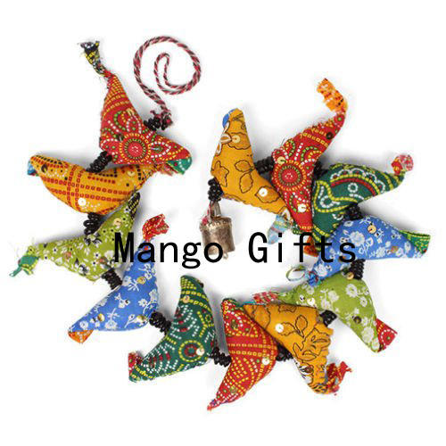 FAIRTRADE BRASS ELEPHANT HANGING MOBILE STRING DECORATION HANDMADE IN INDIA