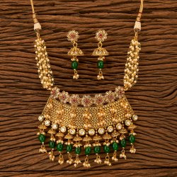 Antique Choker Necklace Set with Gold Plating 200625