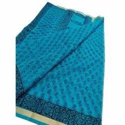 Blue Casual Wear Floral Print Cotton Saree