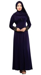 Women's Embosed Style Lycra Abaya Burkha with Waist Belt
