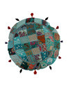 Round Embroidery Floor Cushion Cover with Tassel