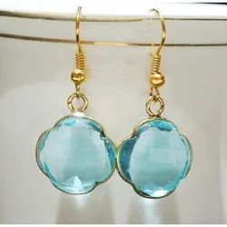 Blue Quartz Clover Shape Bezel Set Earrings