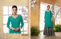 KAJREE LAUNCH KHANAK VOL 2 RAYON WITH EMBROIDERY WORK TOP WITH SHARARA