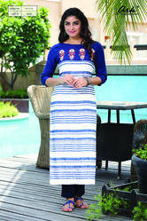 PRINTED KURTI WITH EMBROIDERY