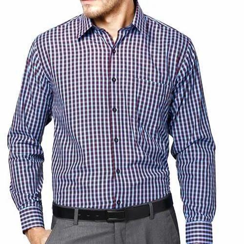 Cotton Checked Mens Formal Shirt 0201d733c