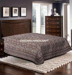 双手印花布床单,家用,尺寸:90 X 108英寸