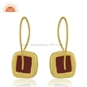 Natural Red Onyx Gemstone Gold Plated Designer Silver Earrings Jewelry
