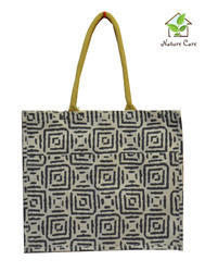 Colored Jute Bag With Abstract Print