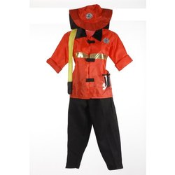 Red & Black Cotton Fire Man Fancy Dress Costume