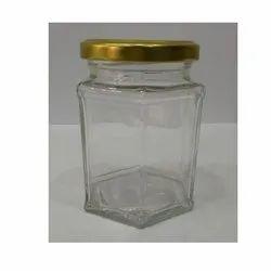 250ML Hex Glass Jam Jar