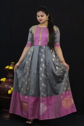 Party Silk Saree Gown, Size: Large