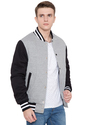 Black White Grey Fleece Body With Black Sleeves Varsity - Men's