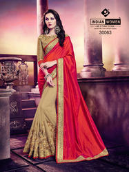 Indian Women Orange And Beige Silk And Georgette Saree