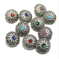 Chatons Plain German Silver Stone Beads