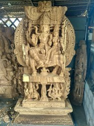 Lord Shiva Parvati, Ganesha and Kartikeya 8 Feet Wooden Statue Special Work