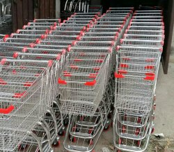 Mild Steel Four-Wheel Shopping Trolley, Load Capacity: 50-100 kg