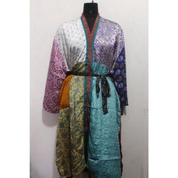 Women's Silk Sari Patchwork Long Kimono Bath Robe Maxi Gown Dress