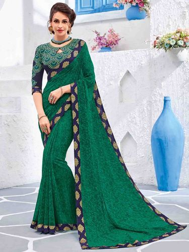 f43758b27f Fancy Sarees - Fancy Green Color Georgette Saree Wholesaler from Surat