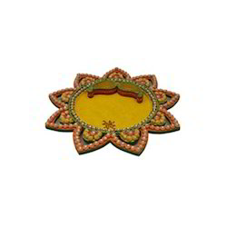 Pooja Thali Star Shape With Kundan Work, Material Wooden Paper Mache