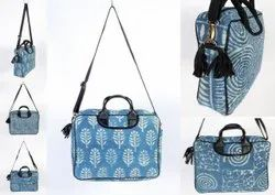 Handled Cotton Indigo Handblock Print Dari Bag, Size/Dimension: H-12 W-16 Handle-56
