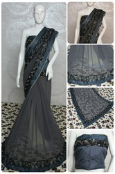 Georgette With Designer Flower Lace Saree