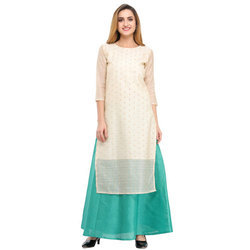 Cottinfab Self Design Silk Kurta And Skirt Set