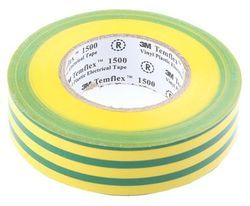 Multicolor 3M Temflex 1500 Yellow / Green Vinyl Insulation Tape