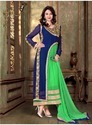 Green And Navy Blue Heavy Embroidery Georgette Anarkali Suit