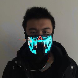 MASK WITH SOUND ACTIVATED LIGHT