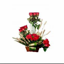 White , Yellow Rose Flower Basket FLB6