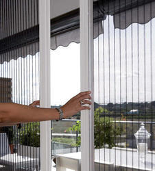 Pleated Mesh for sliding openable window