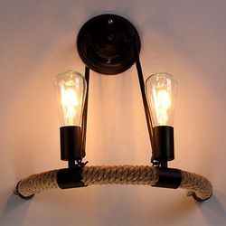 Designer Iron and Rope Wall Lamp