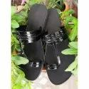 Casual Black Ladies Leather Sandal, Size: 36-42