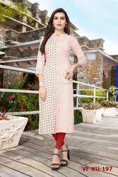 Girl Stitched Beautiful Designer Flex Cotton Kurti