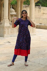 Casual Wear 3/4th Sleeve Rayon Frock Style Kurti, Wash Care: Handwash