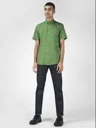 Solid Green Half Sleeve Men Casual Cotton Shirt