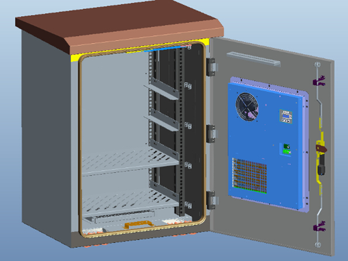 Rack Om Ip55 Outdoor Cabinets With Heat Exchanger Cooling
