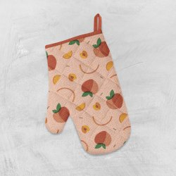 Peach Printed Oven Mittens