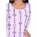 White and Purple Cotton Flex Kurti