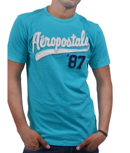 bda83d81941ce5 Causal Wear Plain Aeropostale Men  s Crew Neck T-Shirt Sky Blue