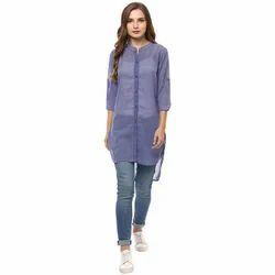 Ladies Rayon Fashion Long Top, Size: XS-XL