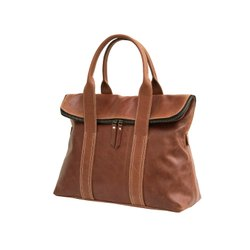 Plain Brown Custom Professional Genuine Leather Ladies Shoulder Tote Bag, For Daily Use