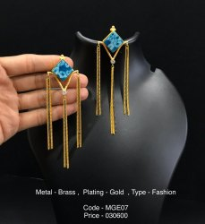 Post and Back Brass Fashion Blue Stone Earrings, Size: 4.5 Inch