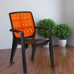 Black,Orange With Hand Rest (Arms) Colored Plastic Chair