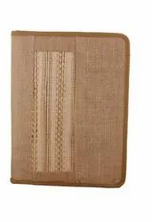 Jute Folder With Zipper