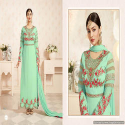 Green Color Georgette Embroidered Anarakali Suit