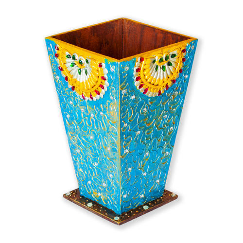 225 & Decorative Handmade Wooden Flower Vase ( Pot ) Blue