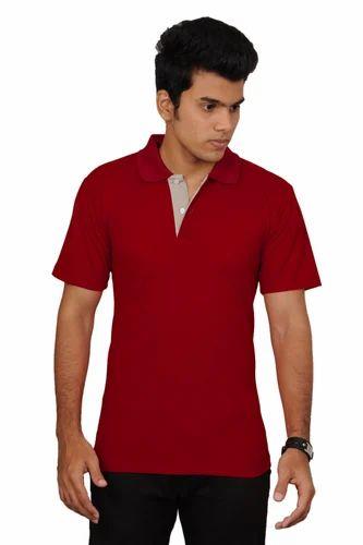 Cotton Plain Downtown Fashion Men  s Half Sleeve Polo T- Shirt - Maroon 5e53d93bbda1