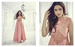Aashi-Vol-4-Embroidered-Art-Silk Gown, Size: L, XL