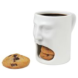 Homejoy White Ceramic Face Coffee Mug with Biscuit Cookie Holder, Packaging Type: Box, 150ml